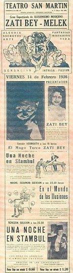 """Argentina: Buenos Aires, 14 Şubat 1936 Tarihli Gösterisinin Afişi: """"İstanbul'da Bir Gece"""", Zati Bey ve Asistanı Melek Hanım (Miss Neraida)"""